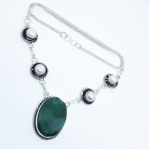 Emerald Pearl 925 Sterling Silver Artisan Necklace